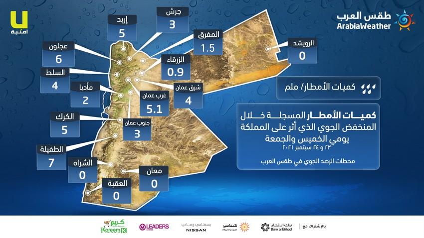طقس العرب | الأمطار الهاطلة على الأردن بتاريخ 23 و 24 سبتمبر تعتبر نادرة، تعرف على كميات الهطول المطري المُسجلة