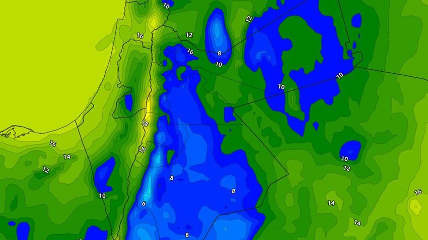 الليلة   انخفاض لافت على درجات الحرارة وطقس بارد ورطب مع استمرار ظهور السُحب المُنخفضة