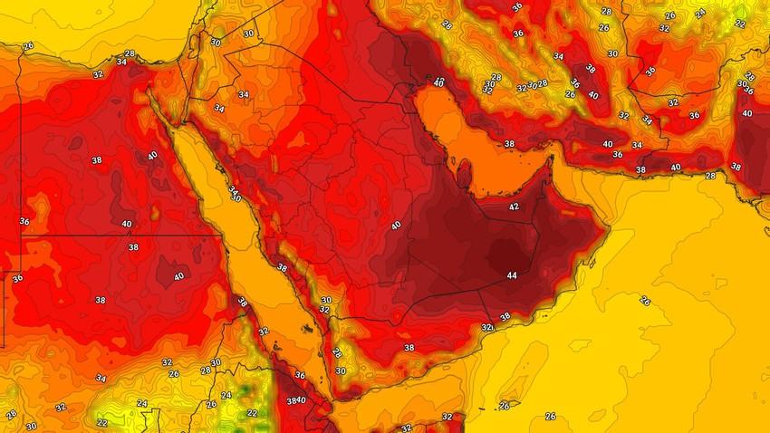 اليمن   ارتفاع على درجات الحرارة مع نشاط للرياح الشمالية الشرقية المُثيرة للأتربة والغُبار الإثنين