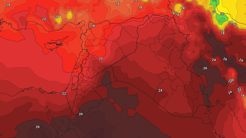 الاردن - نهاية الأسبوع   درجات حرارة ثلاثينية واجواء حارة نسبياً مع هبوب الرياح الشمالية الغربية