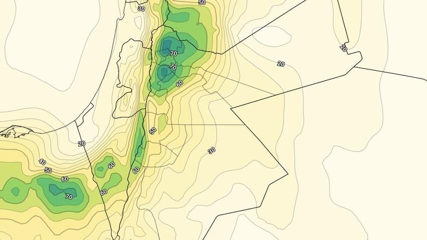 الأردن | إنخفاض إضافي على درجات الحرارة مع إنتشار الغيوم المُنخفضة الإثنين