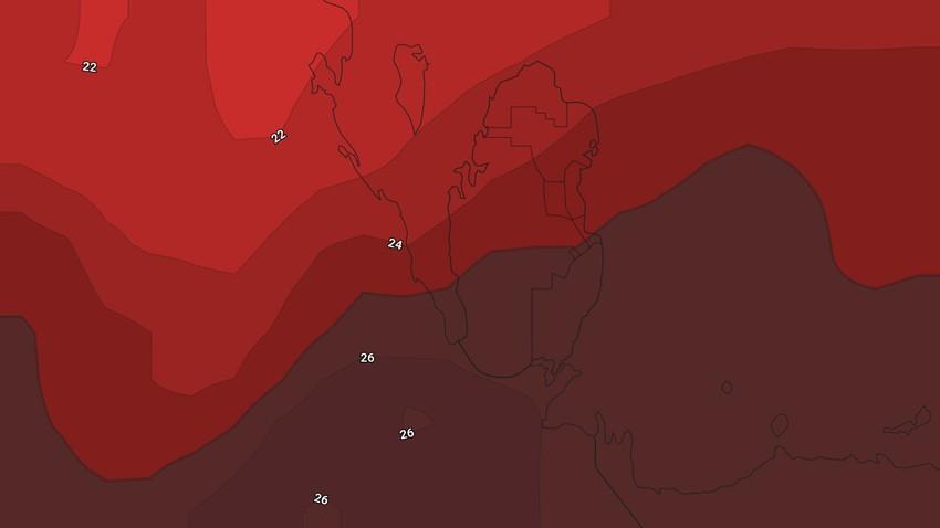 النشرة الأسبوعية لقطر | طقس حار طيلة أيام الأسبوع وفرصة ضعيفة لهطول زخات محلية من الأمطار في القسم الأول
