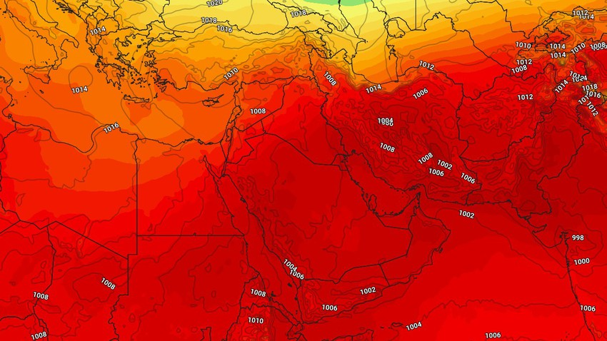 Arabian Gulf   Hot weather continues and active winds cause dust and dust, and turbulence on the beaches
