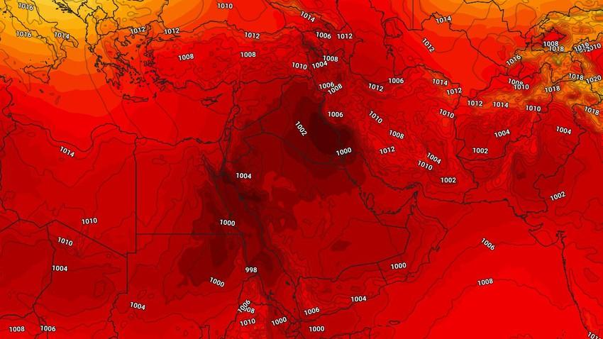 الخليج العربي | طقس شديد الحرارة  ورياح نشطة وأمطار رعدية غزيرة على بعض المناطق الأيام القادمة