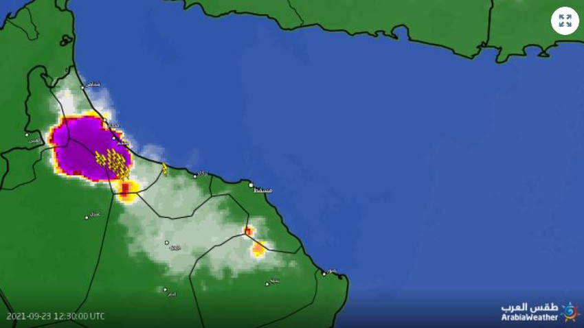 Sultanate of Oman   Severe thunderstorms and serious warnings of flood risks in North Al Batinah