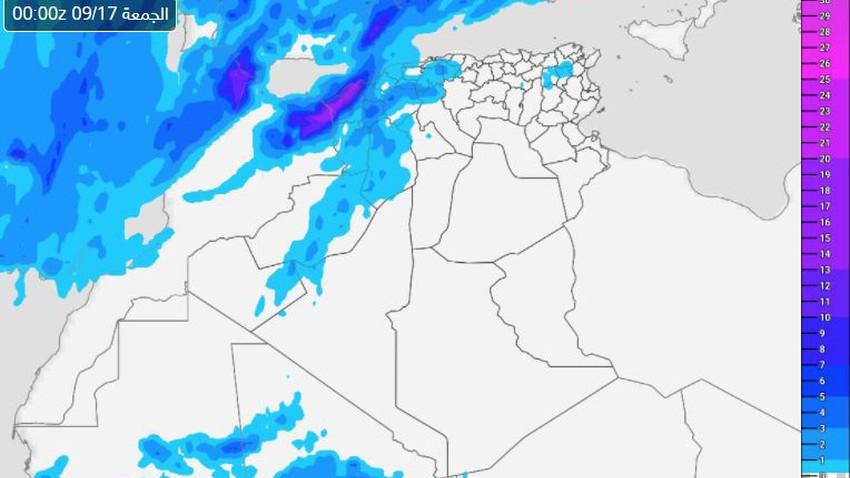 الجزائر | المناطق المشمولة بتوقعات الأمطار يوم الخميس 2021/9/16