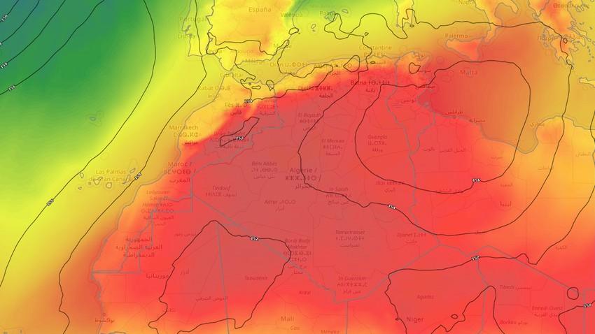 النشرة الأسبوعية - الجزائر | استمرار سيطرة الكتلة الحارة على الجمهورية تزامناً مع حالة ضعيفة من عدم الاستقرار الجوي خلال الأسبوع القادم