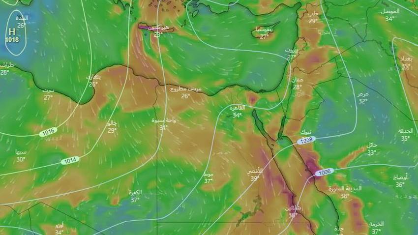 مصر   كتلة هوائية معتدلة تقترب من المنطقة تترافق بزخات مُتفرقة من الأمطار على الساحل الشمالي يوم الثلاثاء