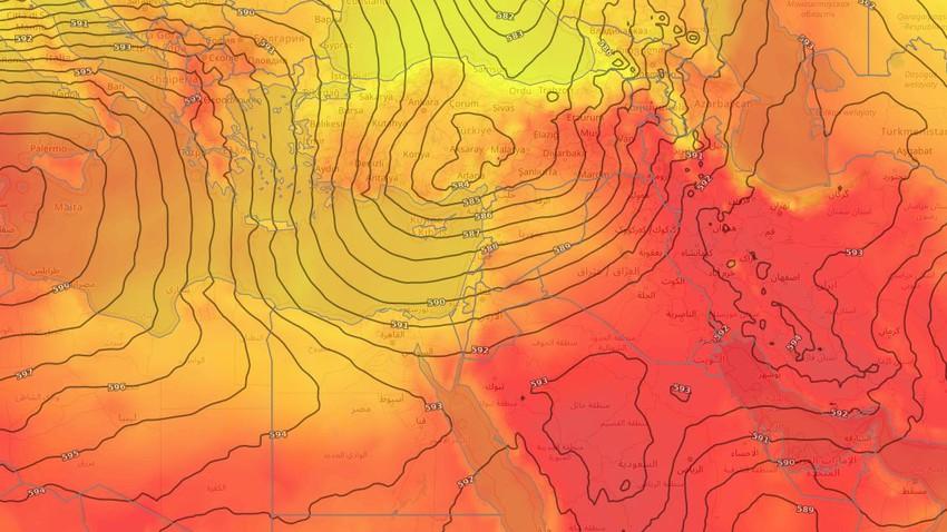 بلاد الشام   تراجع تأثير الكتلة الحارة وانخفاض مرتقب على درجات الحرارة مطلع الاسبوع الحالي