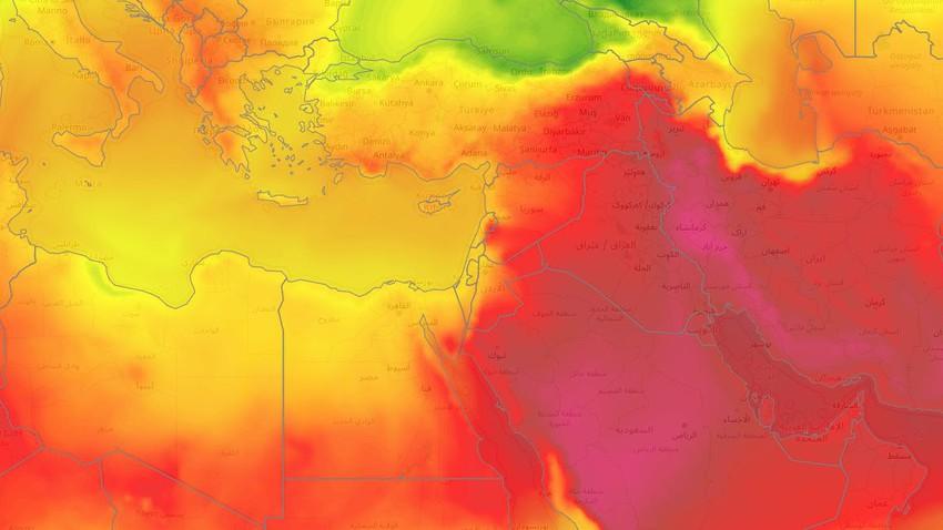 بلاد الشام | طقس صيفي اعتيادي يميل للحرارة على فترات ومناسب للرحلات والجلسات الخارجية في هذه المناطق خلال الأيام القادمة