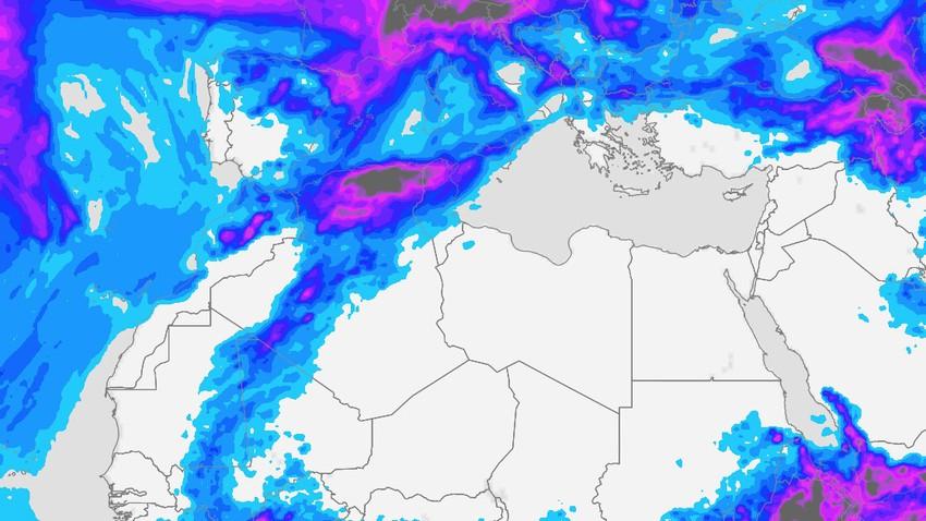 تحديث 1:00م | استمرار تأثر اجزاء من المغرب العربي بالأحوال الجوية غير المُستقرة