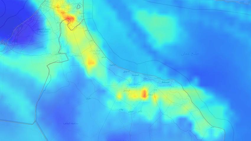 سلطنة عُمان   المناطق المشمولة بتوقعات الأمطار وغزارتها نهاية الأسبوع