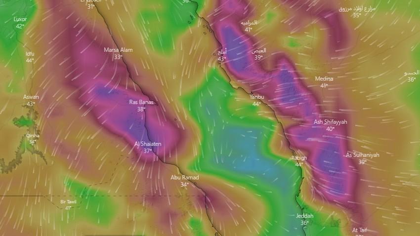 السعودية | تنبيه لينبع ورابغ وأملج من رياح قوية وموجات غبارية بهبات تقارب الـ 90 كم/ساعة نهار السبت