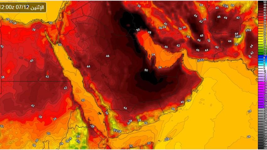 تنبيه مبكر | ارتفاعات متتالية على الحرارة لتقارب الـ 50 مجدداً مطلع ومنتصف الاسبوع