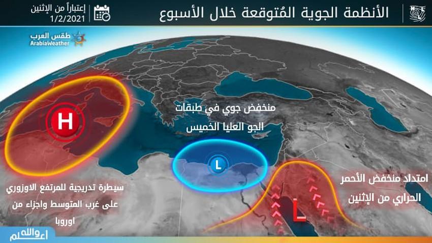 اسبوعية الوطن العربي | سيطرة تدريجية للمرتفع الازوري على غرب المتوسط وامتداد منخفض البحر الأحمر على الخليج العربي وبلاد الشام