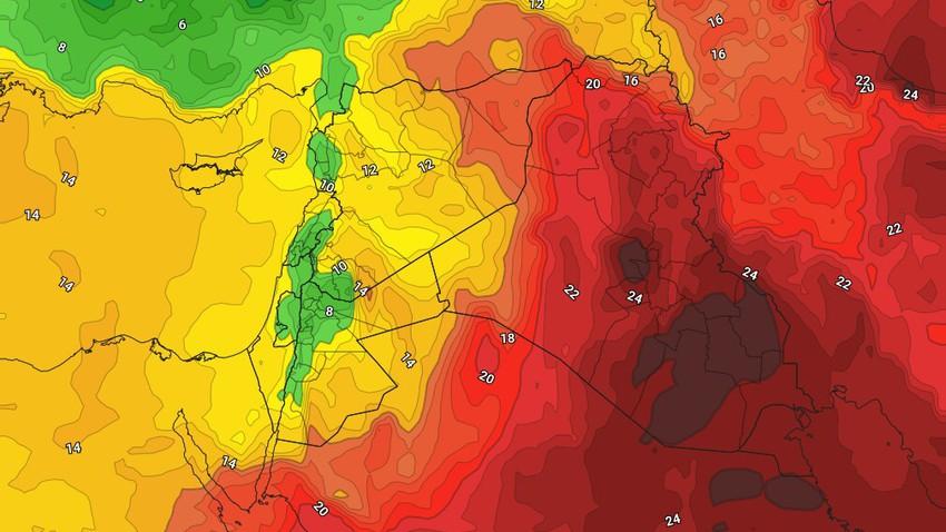 الأردن | مُنخفض خماسيني الاحد متبوع بكتلة هوائية مُعتدلة تجلب الانخفاض الكبير على درجات الحرارة وهبوب الرياح الغربية  النشطة