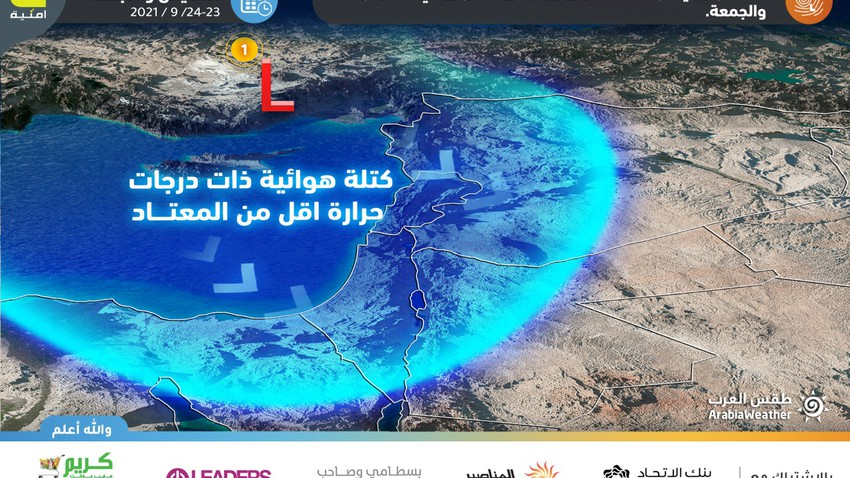Jordan | The first air depression of the first degree (the weakest) to affect the Kingdom in the coming days brings a decrease in temperatures and showers of rain