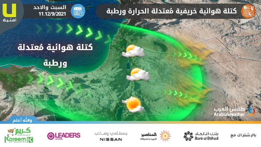 Jordan   A moderately hot and humid autumn air mass rushes towards the Kingdom, causing a clear drop in temperatures, starting from Saturday
