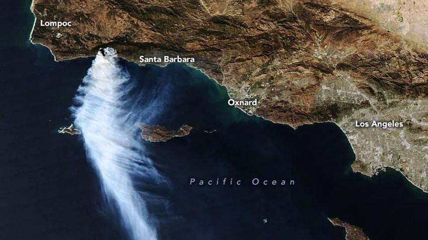 الأقمار الاصطناعية تلتقط صورا لعمود الدخان الهائل لحريق جنوب كاليفورنيا