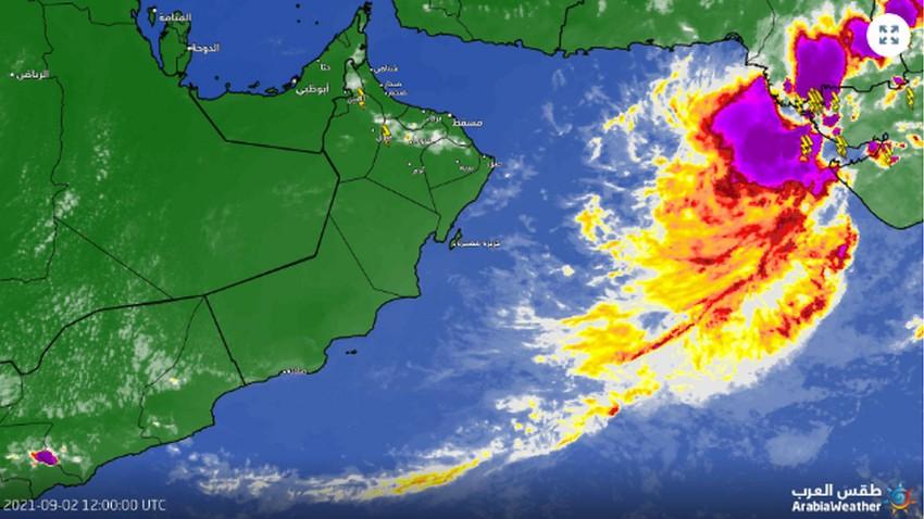 سلطنة عُمان 4:30م   سُحب رعدية وأمطار مترافقة بالرياح الهابطة على أجزاء مختلفة من جبال الحجر