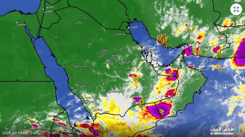 السعودية - تحديث 5:50م   سُحب رعدية تبدأ بالتشكل شرق الدوادمي وأخرى في الشرقية