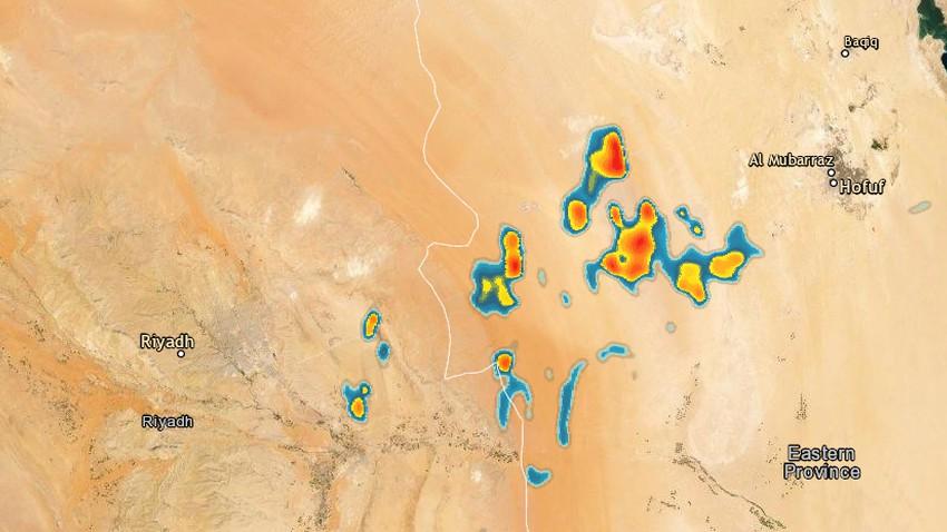 عاجل | تطور سريع للسُحب الرعدية بين الرياض والإحساء الان