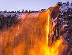 Fire waterfall in Yosemite National Park, California