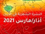 النشرة الشهرية - الأردن: منخفضات خماسينية مُبكرة تفرض تقلبات حادة على الطقس ما بين ارتفاعات ملموسة على درجات الحرارة متبوعة بكتل هوائية باردة و أمطار