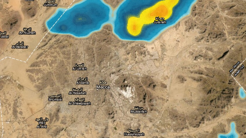 Update 1:00 am   Thunderstorms expected in Makkah Al-Mukarramah during the coming hours.. Details