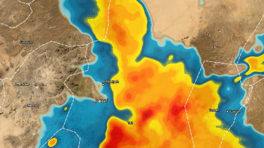 Taif - 6:30pm | Warning of heavy rain and possible torrential rain in the next hour