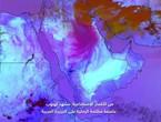 مشهد هبوب عاصفة مظلمة الرملية على الجزيرة العربية من الأقمار الاصطناعية