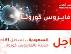 الصحة: تسجيل 61 إصابة جديدة بالفايروس كورونا في السعودية