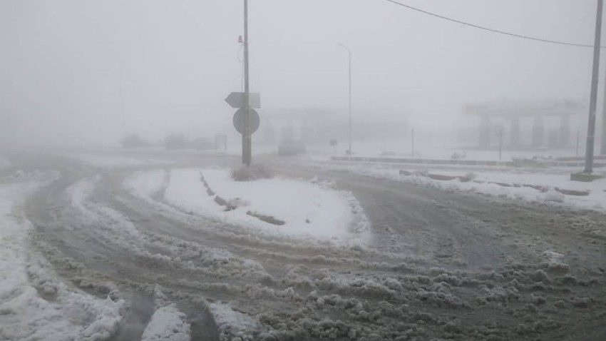 The condition of roads in Tafila governorate until one and a half hours