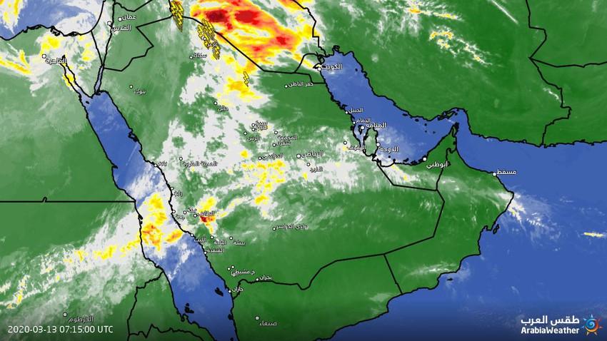 تحديث الساعة 9:30 صباحًا | جبهة هوائية باردة تؤثر على اجزاء واسعة من المملكة