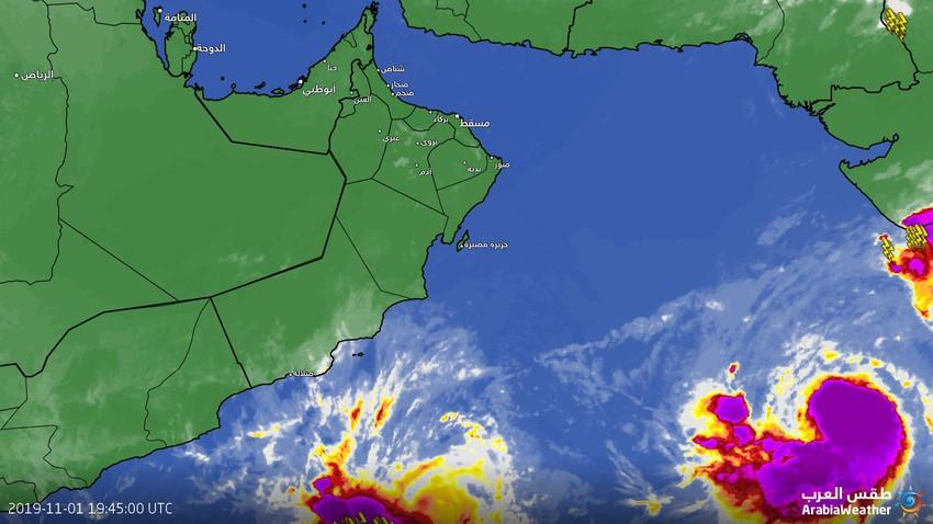 طقس الوطن العربي | احتمالية تطور الحالة المدارية مها الى اعصار من الدرجة الأولى مع تحركها غربا في بحر العرب