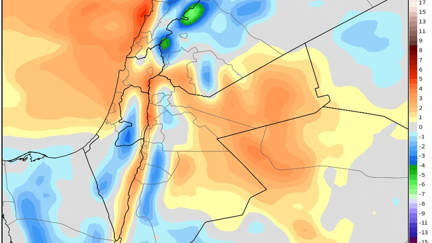 الأحد / فرصة لأمطار عشوائية في الاردن