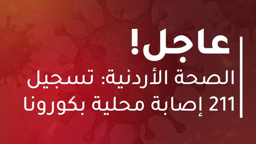 الأردن | تسجيل 211 إصابة محلية بالفايروس كورونا