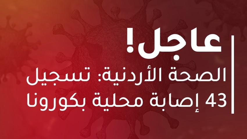 الأردن   تسجيل 52 إصابة جديدة بالفايروس كورونا من بينها 43 إصابة محلية