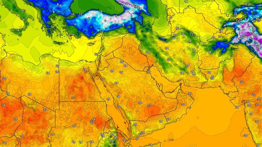 الإثنين إنخفاض ملموس على درجات الحرارة