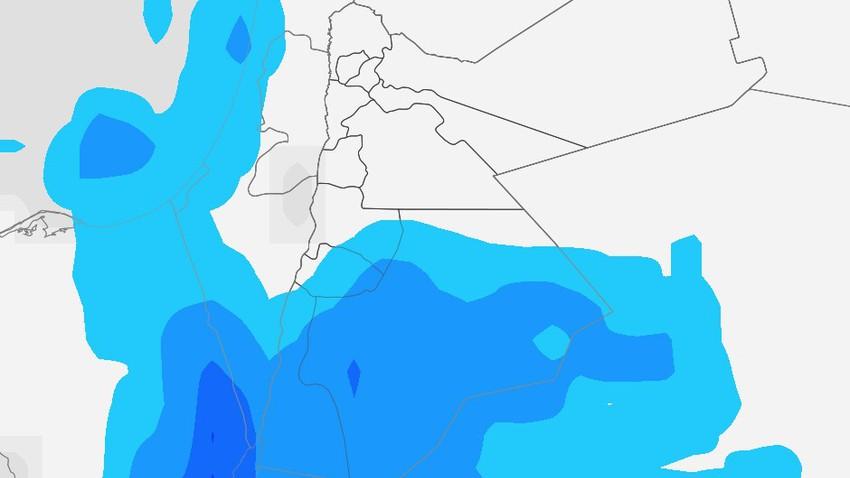 الأردن | سُحب رعدية تؤثر على مدينة العقبة في ساعات متأخرة من الليل وتمتد لباقي مناطق جنوب المملكة فجر الخميس