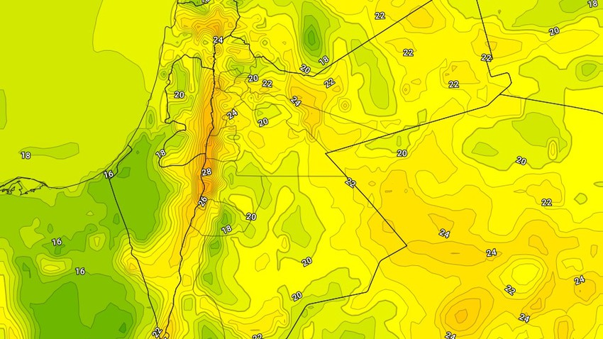 الليلة | ارتفاع اضافي على الحرارة الليلية مع حالة ضعيفة من عدم الاستقرار الجوي في جنوب وشرق المملكة