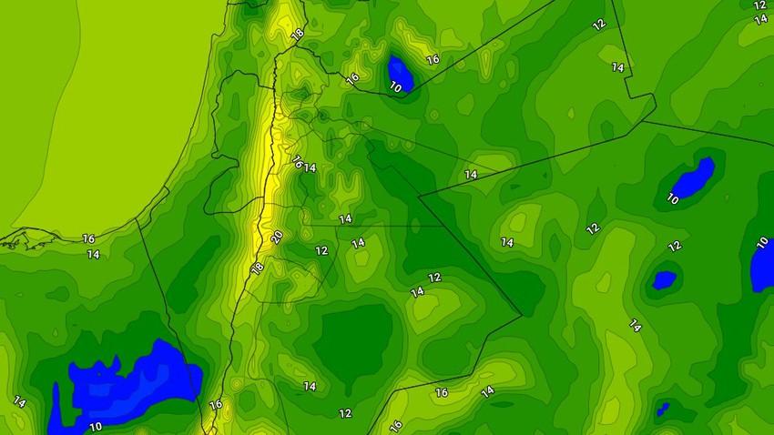 الليلة | ارتفاع على درجات الحرارة الليلية مقارنة مع الليالي السابقة