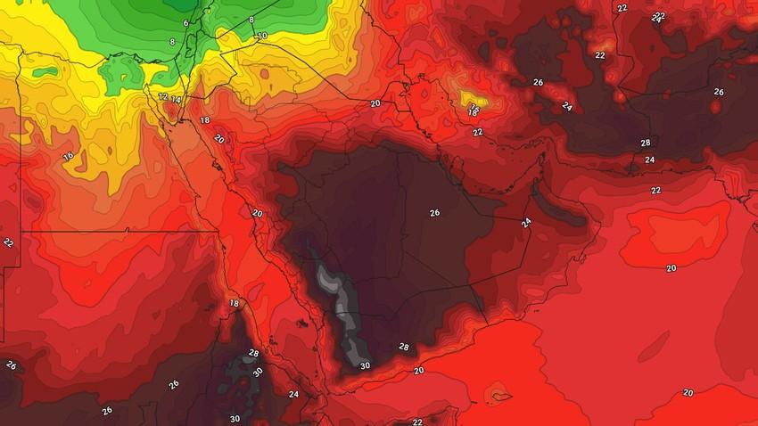 السعودية | اشتداد الأجواء الحارة في الرياض يوم الثلاثاء واستمرار فرص الامطار في العديد من المناطق