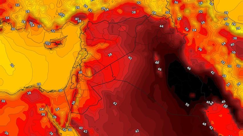 العراق   اشتداد تاثير الكتلة الهوائية شديدة الحرارة الثلاثاء مع نشاط للرياح المُثيرة للغُبار