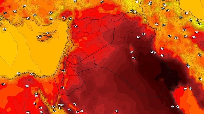 العراق   إستمرار الكتلة الهوائية شديدة الحرارة وحالة محدودة من عدم الاستقرار الجوي