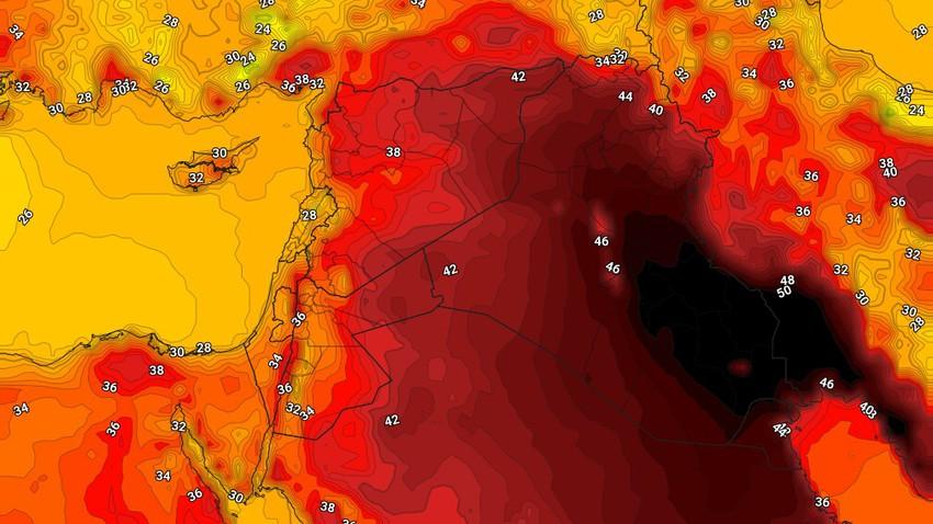 العراق   درجات الحرارة حول الـ 50 مئوية في العاصمة بغداد الإثنين