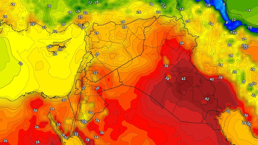 Iraq | An additional rise in temperatures on Monday and the opportunity for thunderstorms of rain in random areas