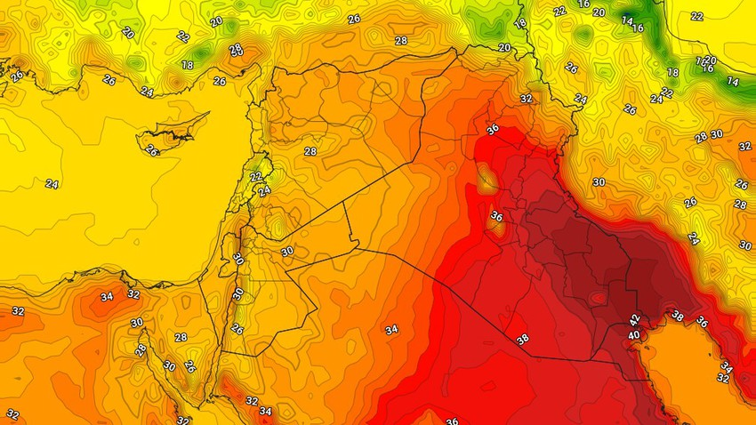 Iraq   An additional rise in temperatures on Wednesday to turn below their rates