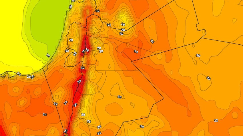 Sunday | The continuation of relatively hot weather with the appearance of some clouds at medium and high altitudes