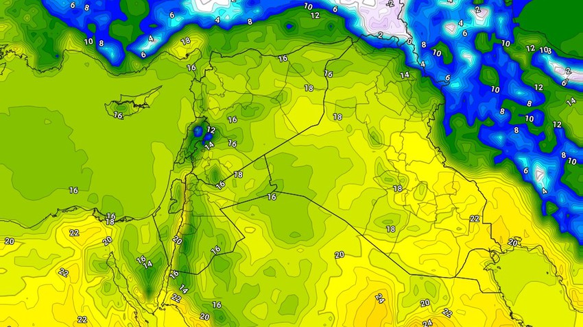 Iraq | Warm weather Sunday, with a chance for showers of rain in some areas. details